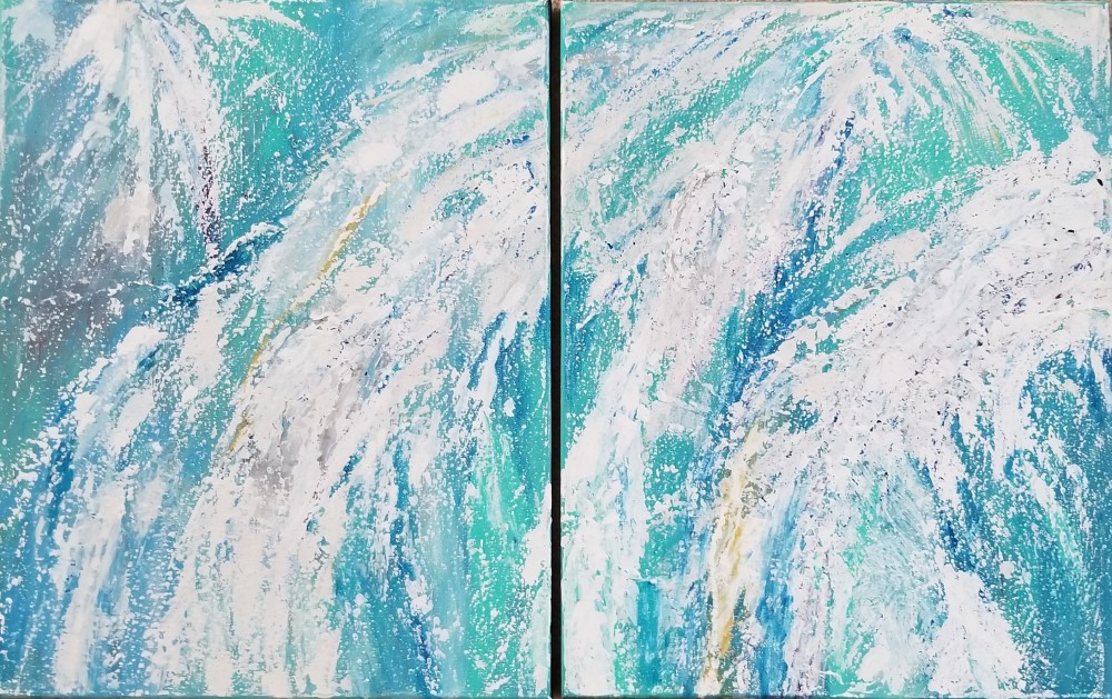 Waterfall (diptych) by Dianne Fleming